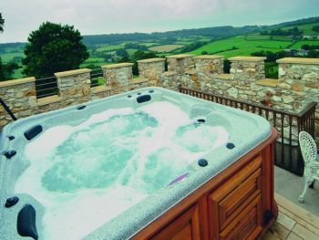 Luxury hot tub on top of tower at luxury self-catering Fort